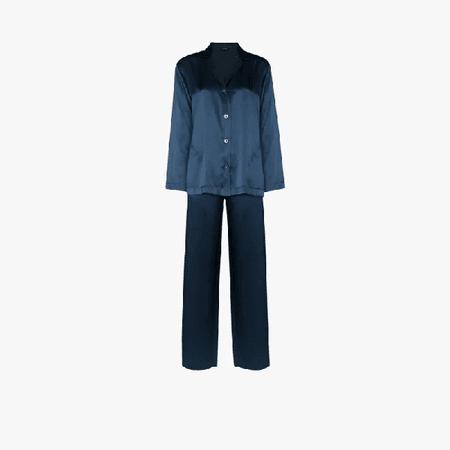 Silk-charmeuse Pyjamas In Blue La Perla
