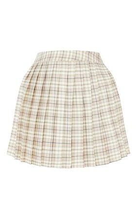 Petite Stone Woven Check Tennis Skirt | PrettyLittleThing USA