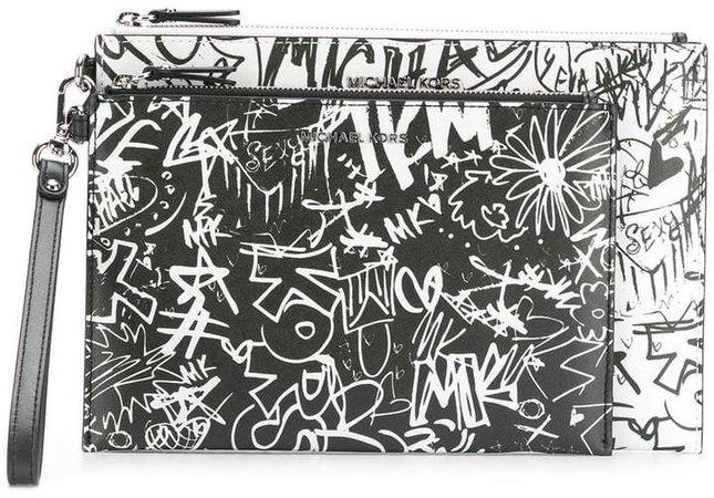 graffiti clutch bag