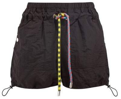 Pswl - Parachute Drawstring Waist Shorts - Womens - Black