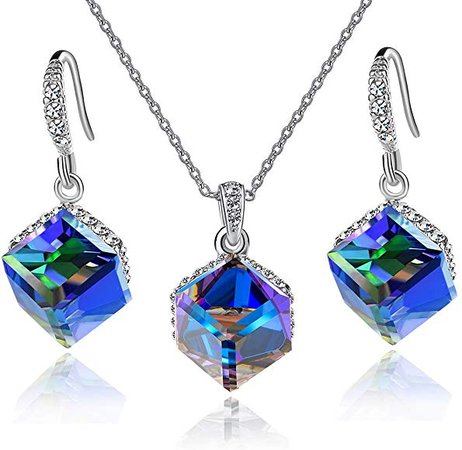 EVEVIC Colorful Cubic Swarovski Crystal Necklace Earrings Hypoallergenic Jewelry Set