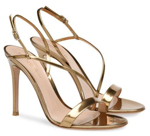 GIANVITO ROSSI Gold Manhattan Heels