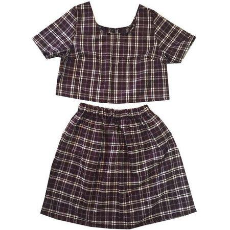 Brown Wool Tartan Plaid Co-ord Two Piece Twinset Womens Fashion Clothes Check Short Sleeve Top Skater High Waist Skirt
