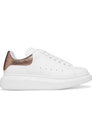 Alexander McQueen | Metallic-trimmed leather exaggerated-sole sneakers | NET-A-PORTER.COM