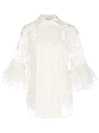 Marchesa, Sheer Floral Pattern Blouse