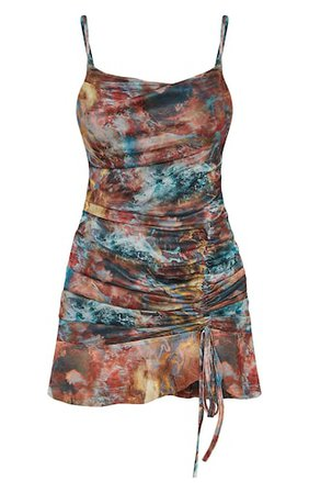 Multi Tie Dye Print Mesh Ruched Bodycon Dress | PrettyLittleThing USA