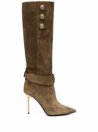 Balmain clasp-strap knee-high boots - FARFETCH