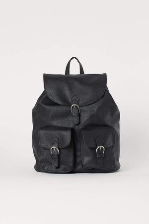 Faux Leather Backpack - Black