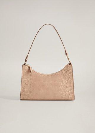 Croc-effect baguette bag - Women | Mango USA rose