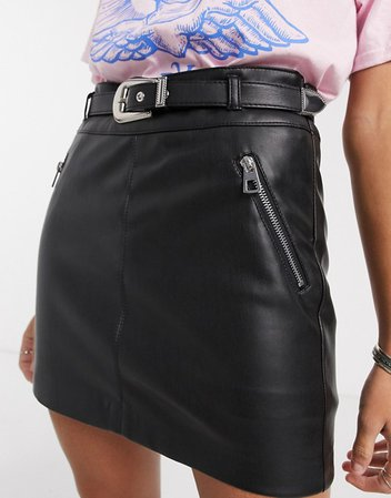 Bershka western belted faux leather mini skirt in black | ASOS