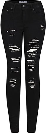 2LUV Women's Stretchy 5 Pocket Destroyed Dark Denim Skinny Jeansat Amazon Women's Jeans store
