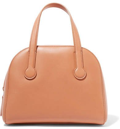 Sporty Bowler Small Leather Tote - Tan