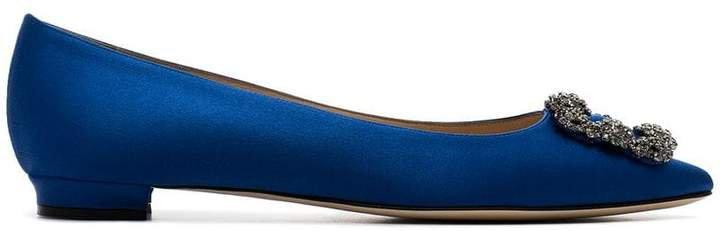 blue hangisi satin flat pumps