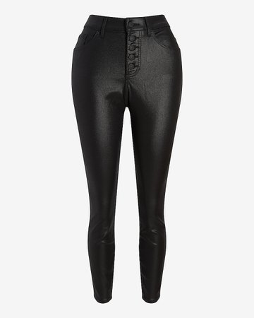 High Waisted Black Coated Button Fly Supersoft Curvy Skinny Jeans   Express