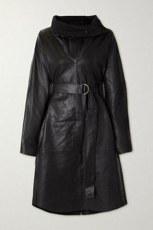 Sortie Belted Leather Dress - Black