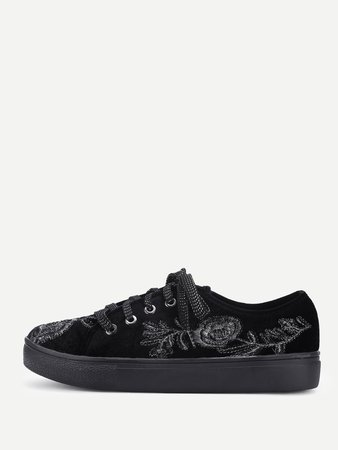 Flower Embroidery Lace Up Velvet Sneakers