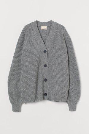 Knit Wool Cardigan - Gray