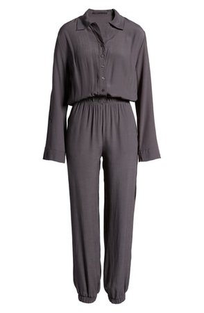 Fraiche by J Long Sleeve Button Front Jumpsuit   Nordstrom