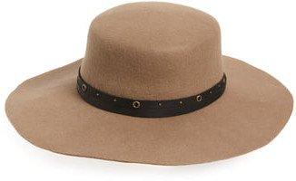 Studded Belt Wool Felt Boater Hat