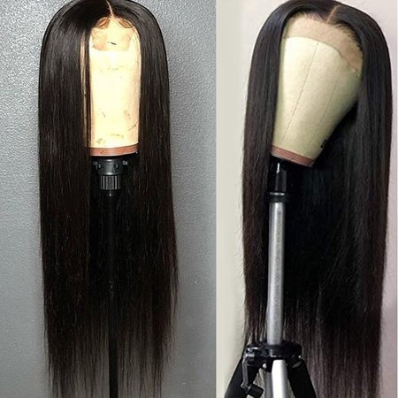 Long Straight Hair Black Color Lace Wigs Glueless Heat Resistant Fiber Hair Yaki Synthetic Lace Front Wigs for Fashion Women | Wish