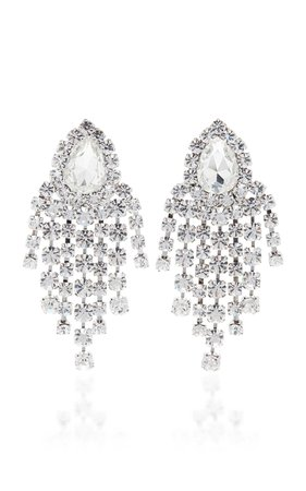 ALESSANDRA RICH Crystal Fringe Clip Earrings