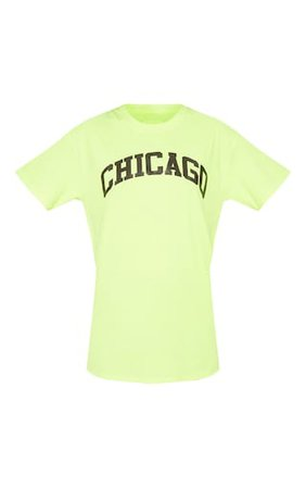 Neon Yellow Chicago Slogan T Shirt | Tops | PrettyLittleThing USA