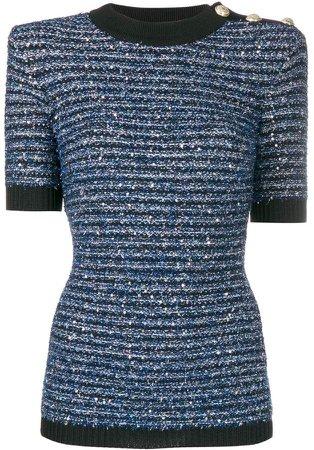 striped tweed knit top