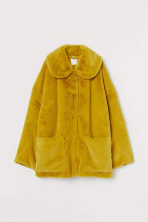 Faux Fur Jacket - Yellow