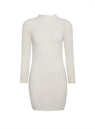 PETITE Oatmeal Bow Back Knitted Dress | Miss Selfridge