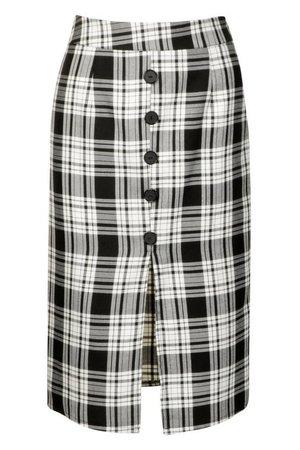 Woven Tartan Button Front Midi Skirt | Boohoo