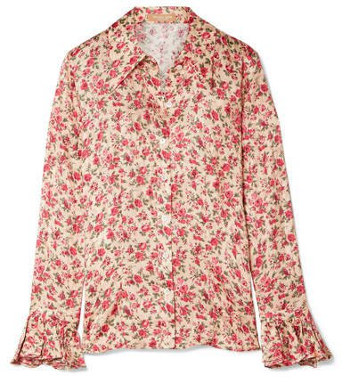 Ruffled Floral-print Silk-jacquard Shirt - Blush