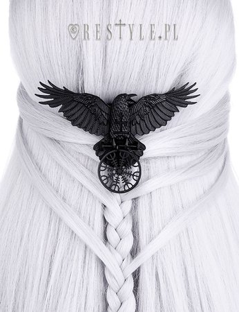 """""""HELM OF AWE RAVEN HAIRCLIP"""" Nordic protection talisman, black crow, healing rune 
