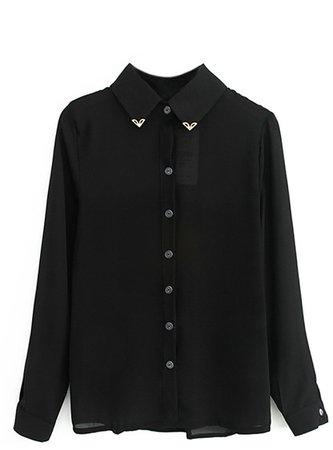 Metal Collar Long Sleeved Black Shirt