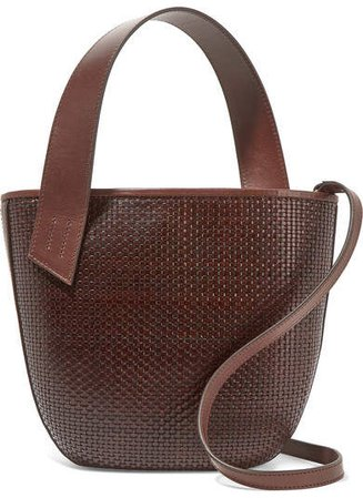 TL-180 - Panier Saigon Leather-trimmed Woven Raffia Shoulder Bag - Dark brown
