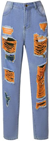 LilyCoco Women's Hight Waisted Ripped Boyfriend Jeans Distressed Denim Pants Skinny Jeans at Amazon Women's Jeans store