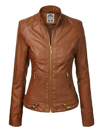 WJC747 Womens Dressy Vegan Leather Biker Jacket XS CAMEL at Amazon Women's Coats Shop | Jackets v roce 2019