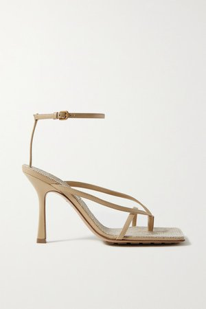 Leather And Raffia Sandals - Beige