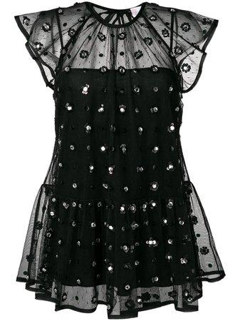Black RedValentino sheer embellished blouse - Farfetch