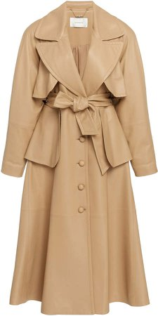 Espionage Belted Leather Trench Coat