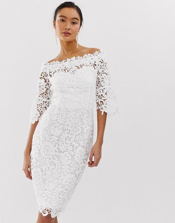 Paper Dolls off shoulder crochet dress with frill sleeve in white | ASOS