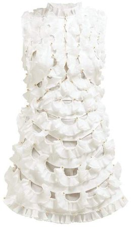 Zippy Fan Frilled Mini Dress - Womens - Ivory