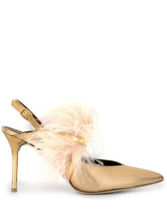 Malone Souliers Agnes Embellished Slingback Pumps AGNESMS851 Gold | Farfetch