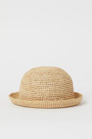 Round Straw Hat - Beige - | H&M US