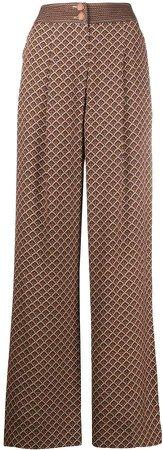 Retro Print Wide Leg Trousers