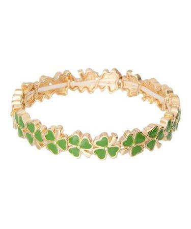 Timeless Irish Treasures Green & Goldtone Shamrock Stretch Bracelet | Zulily