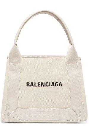 Balenciaga | Cabas XS AJ leather-trimmed printed canvas tote | NET-A-PORTER.COM