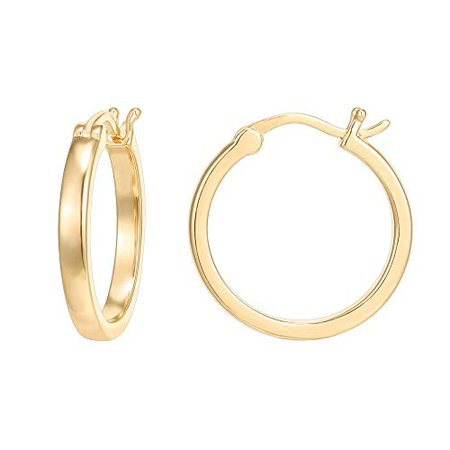 Amazon.com: PAVOI 14K Yellow Gold Plated 925 Sterling Silver Post Lightweight Hoops | Yellow Gold Hoop Earrings for Women: Jewelry