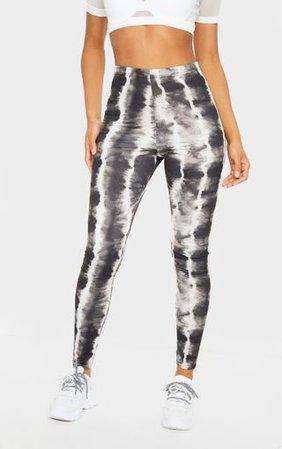 Black Tie Dye Print Leggings | Trousers | PrettyLittleThing
