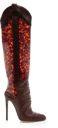 Brandon Maxwell Leather Tortoise Knee High Boots