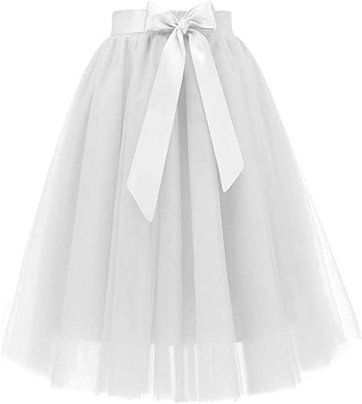 Bridesmay Women's New Year Knee Length 5-Layered Tulle Skirt Evening Party Prom Skirt White XL at Amazon Women's Clothing store